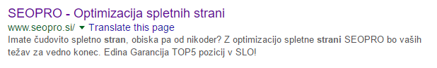 seopro optimizacija spletnih strani v googlu